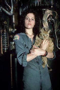 source: bishopsbox Ellen Ripley (Sigourney Weaver) with Jonesy, her cat, in Alien (promo shot) Alien Film, Alien 1979, Conquest Of Paradise, Ellen Ripley, Sci Fi Movies, Horror Movies, Alien Sigourney Weaver, Akira, Aliens Movie