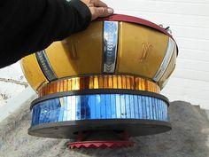 1940s hanging Rockola Jukebox motion light & speaker, with Space Age/Atomic Age styling.