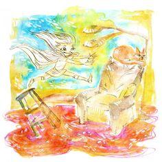 "Cute ""The Floor Is Lava"" Illustration 5"" x 7"" Colorful Art Print #inktober"