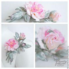 """Silk flowers. Розы из шелка """"Pink Lady"""". Цветы из шелка. Handmade. Цветы ручной работы Оксаны Чистовой. Роза-брошь. Ярмарка Мастеров - ручная работа."""