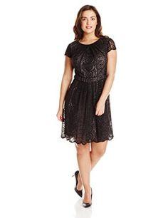 7accfa6d4ae Adrianna Papell Women s Plus-Size Pleated Stripe Filigree Lace Dress  Dress   Fashion