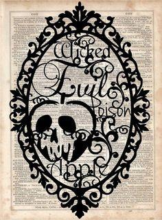 Poison Appe Dictionary Art Print Vintage by MySilhouetteShoppe Deco Disney, Art Disney, Disney Love, Disney Magic, Disney Pixar, Evil Queens, Dictionary Art, Disney Descendants, Silhouette Art