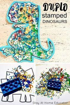 Duplo stamped dinosaur art the kids will love - Fun process art activity for preschool to go along with your dinosaur preschool theme. Could easily be turned into a counting activity with a set of dice. Daycare Crafts, Toddler Crafts, Preschool Crafts, Toddler Activities, Dinosaur Crafts For Preschoolers, Dinosaurs For Toddlers, Art For Preschoolers, Preschool Art Projects, Toddler Art Projects