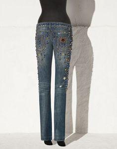 брендовая одежда и обувь -Джинсы со стразами Дольче Габбана -интернет-магазин IN-RETRO