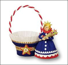 Holiday Herald: Crepe Paper Girl Party Favor Basket Craft Project on Blumchen.com