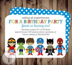 Superhereos de SUPERHÉROE y SUPER niña cumpleaños por T3DesignsCo
