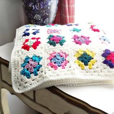 Granny Square Afghan Crochet Multi Color by ReneeBrownsDesigns, $94.00