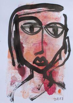 expressives Portrait Orig. Zeichnung Kunst Sonja Zeltner-Müller DinA5 Unikat