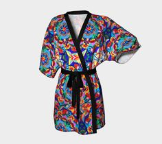 mandala blue draped kimono, Kimono Robe by Iz FromEarth. Printed artwork Kimono bath robe, available in silky knit and transparent chiffon fabric Blue Haired Girl, Green Kimono, Blue Drapes, 100 Human Hair Extensions, Spandex, Pink Outfits, Chiffon Fabric, Plus Size Outfits, Clothes For Women