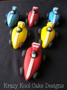 Fondant Cake toppers - race car cupcake toppers