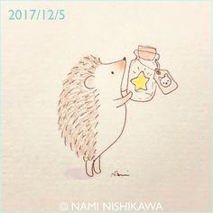 1353 一番ぴかぴかのお星様は、しろくまくんにあげるよ I'll give the brightest star to Polar Bear. #illustration #hedgehog #イラスト #ハリネズミ #なみはりねずみ