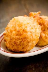 Paula Deen Garlic Cheese Biscuits, used Bisquick n buttermilk. Double recipe.