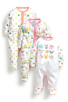 Buy Brightly Coloured Animals Sleepsuits Three Pack (0mths-2yrs) from the Next UK online shop