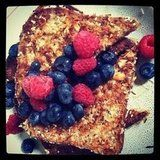 """French toast was never so healthy! Cathrnb used a recipe of """"sprouted wheat bread dipped in egg and almond milk, coated with shredded coconu..."""