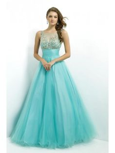 Scoop A-line/Princess Floor-length Beading Sequin Ruffles Tulle Prom Dress