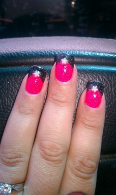 Pink and black nails - for my bridal shower
