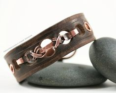 Leather and Wire Wrapped Copper Unisex Cuff Bracelet