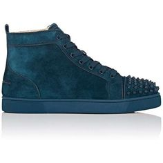 Christian Louboutin Men's Lou Spikes Orlato Flat Suede Sneakers (3,730 SAR) ❤ liked on Polyvore featuring men's fashion, men's shoes, men's sneakers, blue, mens black hi top sneakers, mens suede sneakers, mens blue suede shoes, mens high tops and mens sneakers