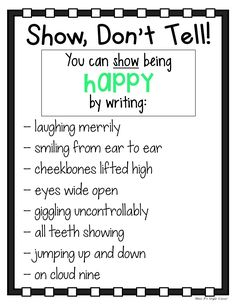 I can use this to help my students write with more expression and how to show action in their writings. Can be posted along the walls or turned into a little book the students can keep at their desks. Writing Strategies, Book Writing Tips, Narrative Writing, Writing Words, Writing Lessons, Writing Workshop, Writing Resources, Teaching Writing, Writing Prompts