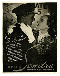 Romantic WW2 Sendra Gloves ad. vintage 1940s