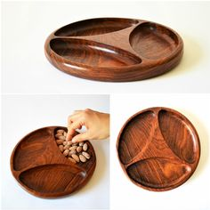 Rosewood snack plate 3 sections handmade wooden plate