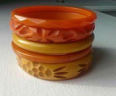 Vintage Carved Bakelite Bangle Bracelet Set Lot of 5! ALL Test Positive!