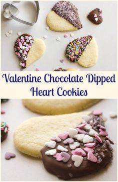 Yum! Valentine Chocolate-Dipped Heart Cookies
