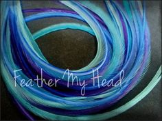 """Feather Hair Extensions - Do It Yourself (DIY) Kit - 16 Pc Thin Feathers - Medium Long 7"""""""" -9"""""""" (18-23cm) Blue Purple - Life's A Beach Collection - Dancing Waters"""