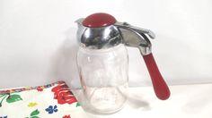 Vintage Glass Syrup Dispenser with Red by UrbanRenewalDesigns, $24.00