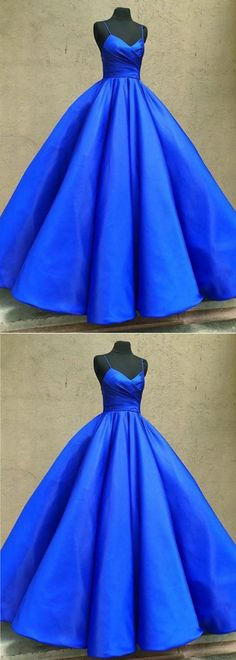 Royal blue spaghetti straps floor length evening dress, long sweet16 prom dresses