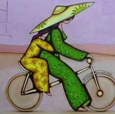 Franck Ayroles Plus Art Geisha, Art Fantaisiste, Bicycle Art, Japanese Painting, Whimsical Art, Figure Painting, Pattern Art, Cool Artwork, Illustrations Posters