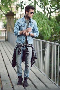 Pull & Bear Denim Jacket, Quicksilver Shirt, Zara Boots