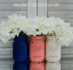 Coral, Navy, Cream Painted & Distressed Mason Jars - Home Decor, Wedding Centerpiece, Gift Idea