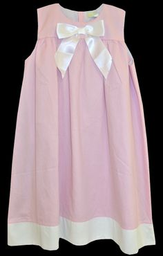 Beehave Girl's Pink Linen Easter Dress with White Stain Ribbon