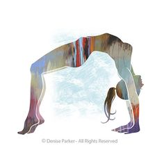 """Yoga Art """"UPWARD BOW POSE""""- Small, Fine Art Print on Textured Paper Choose from any one of these background colors provided. Just mention the color desired in the notes section at checkout. The…MoreMore Visit my website for more details. Yoga Studio Decor, Yoga Decor, Kundalini Yoga Poses, Studio Pilates, Yoga Illustration, Bow Pose, Yoga Art, Or Mat, Texture Art"""