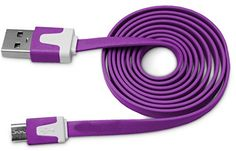 "myLife Classic Purple {Solid Flat Noodle Design} 6' Feet (1.8 Meter) Quick Charge USB 2.0 Micro USB to USB Data Sync Cord for Phones, Cameras, Tablets and GPS Devices ""SEE COMPATIBILITY"" (Durable Rubber Coat) myLife Brand Products http://www.amazon.com/dp/B00O7XA62S/ref=cm_sw_r_pi_dp_mB-tub0C05QDC"