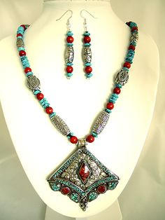 Blue Turquoise Red Coral Sterling silver overlay 97 Grams Necklace 18 Nepali Work Jewelry