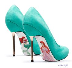 Custom hand painted Little Mermaid pumps. $45.00, via Etsy.