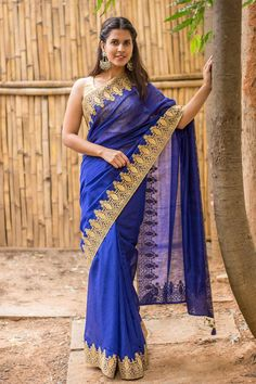 Royal blue spun silk saree with rich gold lace border #saree #houseofblouse #spunsilk #blue #gold #lace #border