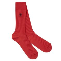 LONDON SOCK COMPANY LISLE COTTON RIB SOCK RED