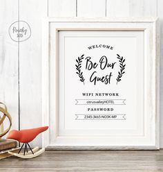 Printable WIFI password sign guest room by PaperTigressBoutique