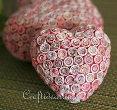 Quilled Hearts - The base is a styrofoam heart.