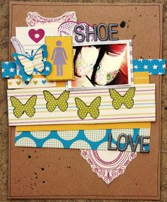 Shoe Love - Scrapbook.com  Gotta love this. A layout about shoes. Two of my favorite things coming together! :) #shoes #scrapbooking