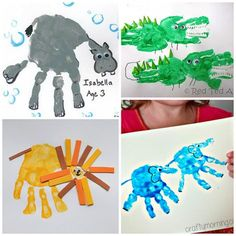 Fun Zoo Animal Handprint Crafts for Kids - Crafty Morning Zoo Crafts, Preschool Art Projects, Animal Art Projects, Animal Crafts, Baby Crafts, Preschool Crafts, Jungle Crafts, Crafts For Kids To Make, Art For Kids