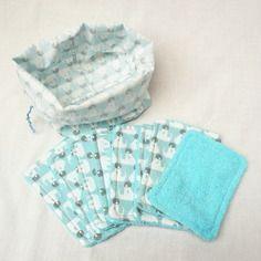 8 lingettes lavables et vide poche assorti