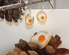 Huevo Frito - pendientes con broche