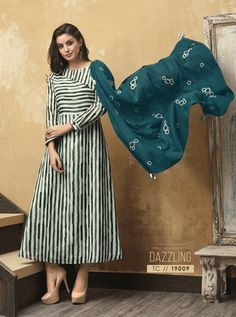 A Bunch Of Muslin Full Length Stylish Kurthi With Scarf Set. LKFABKART is a wholesale party wear kurti with scarf at bulk rates. Ethnic Fashion, Indian Fashion, Icon Fashion, Summer Dress Patterns, Summer Dresses, Prom Dresses, Indian Dresses, Indian Outfits, Indian Clothes Online