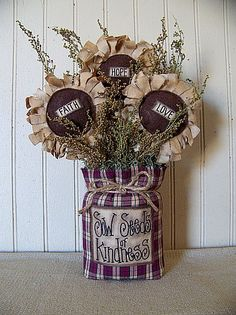 """Items similar to Primitive Spring/Easter """"Sow Seeds of Kindness"""" Bag with Daisies on Etsy Rustic Crafts, Burlap Crafts, Country Crafts, Decor Crafts, Fabric Crafts, Wood Crafts, Primitive Homes, Primitive Crafts, Primitive Snowmen"""
