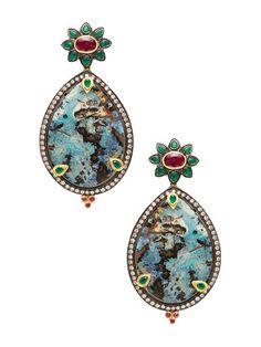 Boulder Opal Teardrop Earrings  by Amrapali at Gilt
