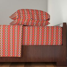 Langshan Sheet Set featuring Zig Zag Red Orange Purple Black Cream by linda_baysinger_peck | Roostery Home Decor